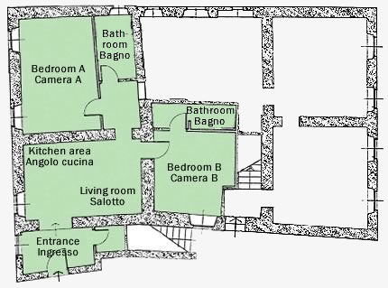 plan of San Giovanni west: villa rental tuscany with pool